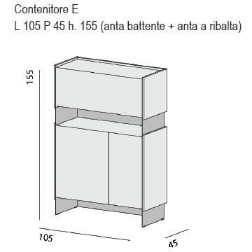 Contenitore E_ 105 x 45 x H 155 cm