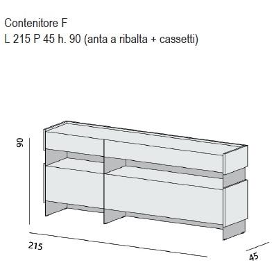 Contenitore F_ 215 x 45 x H 90 cm