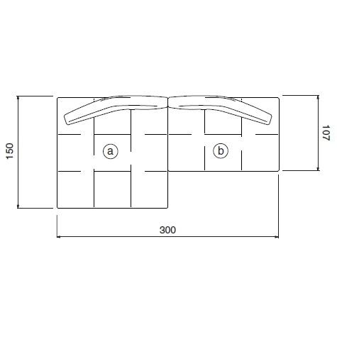 Matic_ 300 x 107/150 x H 62 cm (MA12)