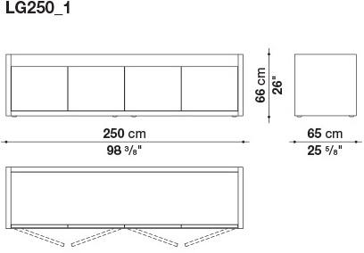 LG250_1 250 x 65 x H 66 cm