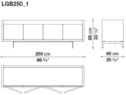 LGB250_1 250 x 65 x H 85 cm