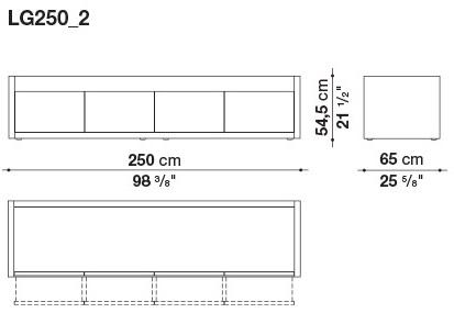 LG250_2 250 x 65 x H 54.5 cm