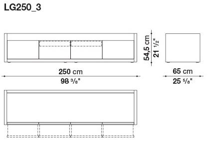 LG250_3 250 x 65 x H 54.5 cm