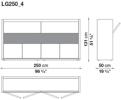 LG250_4 250 x 50 x H 131 cm