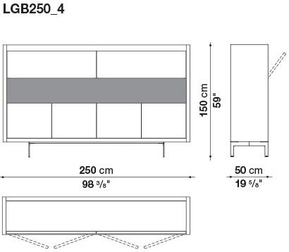 LGB250_4 250 x 50 x H 150 cm
