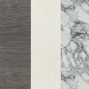 Sumpfeiche - Weißer Zement - Weißer arabesker Marmor