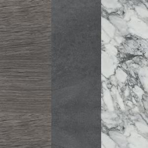 Sumpfeiche - Dunkelgrauer Zement - Weißer arabesker Marmor