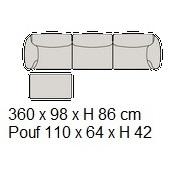 Grande Soffice B_ 360 x 98 x H 86 cm (Pouf 110 x 64 x H 42 cm)
