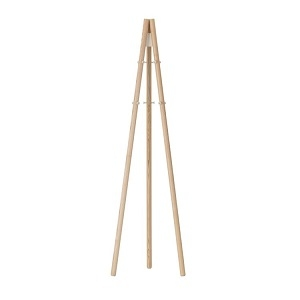 Coat Stand_ Legs natural lacquered, structure and hooks stone white