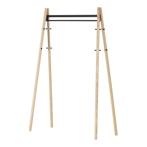 Coat Rack_ Legs natural lacquered, structure and hooks black