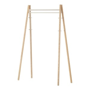 Coat Rack_ Legs natural lacquered, structure and hooks stone white