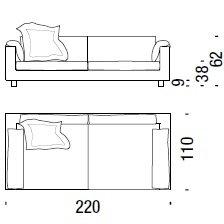 F56_ 220 x 110 x H 62 cm